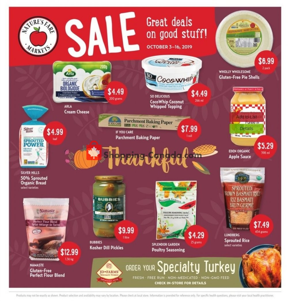 Flyer Nature's Fare Markets Canada - from Thursday October 3, 2019 to Wednesday October 16, 2019