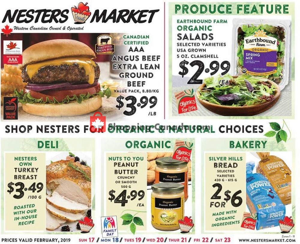Flyer Nesters Market Grocery Stores Canada - from Sunday February 17, 2019 to Saturday February 23, 2019