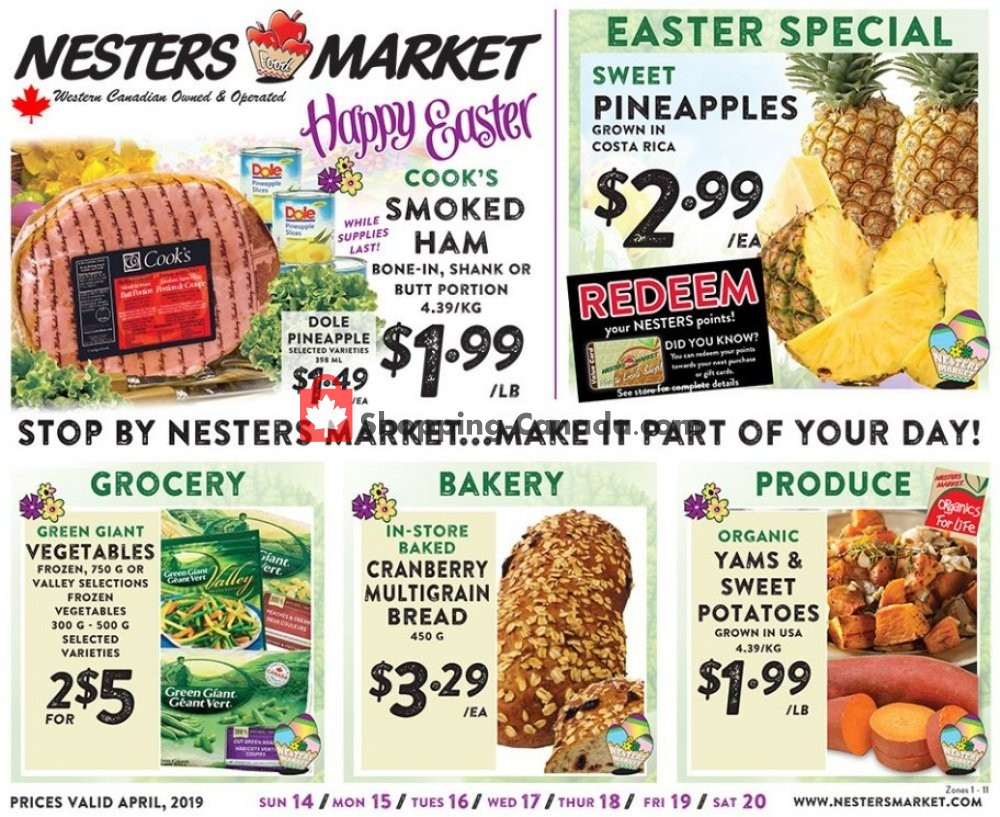Flyer Nesters Market Grocery Stores Canada - from Sunday April 14, 2019 to Saturday April 20, 2019