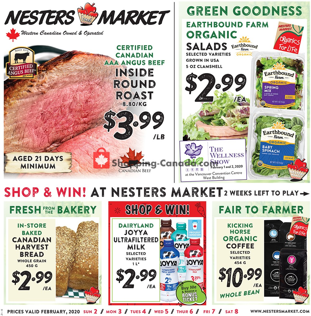 Flyer Nesters Market Grocery Stores Canada - from Sunday February 2, 2020 to Saturday February 8, 2020