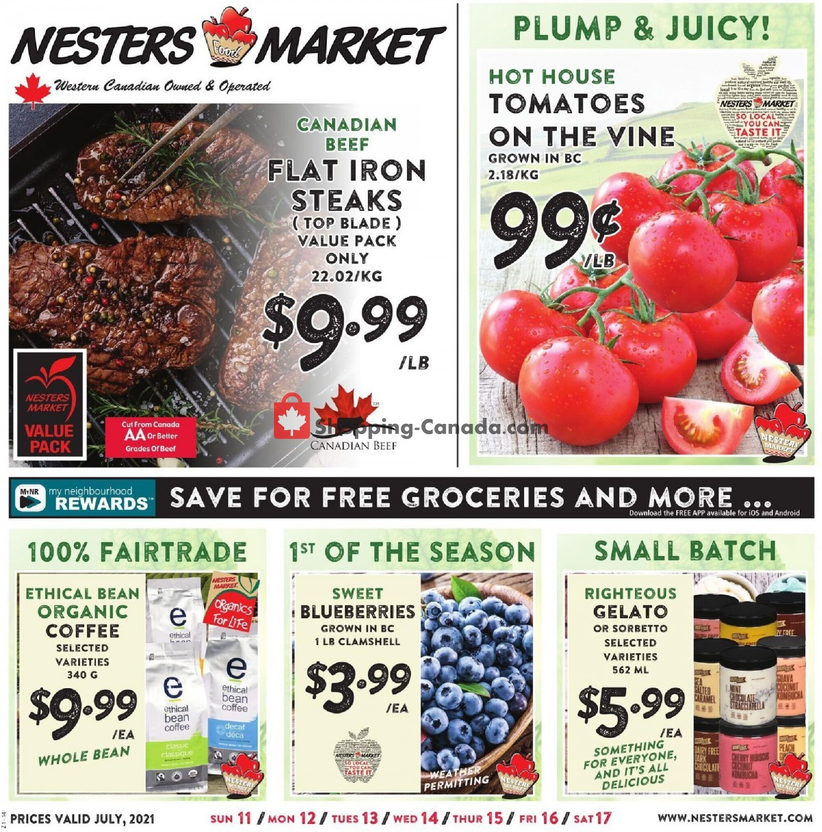 Flyer Nesters Market Grocery Stores Canada - from Sunday July 11, 2021 to Saturday July 17, 2021