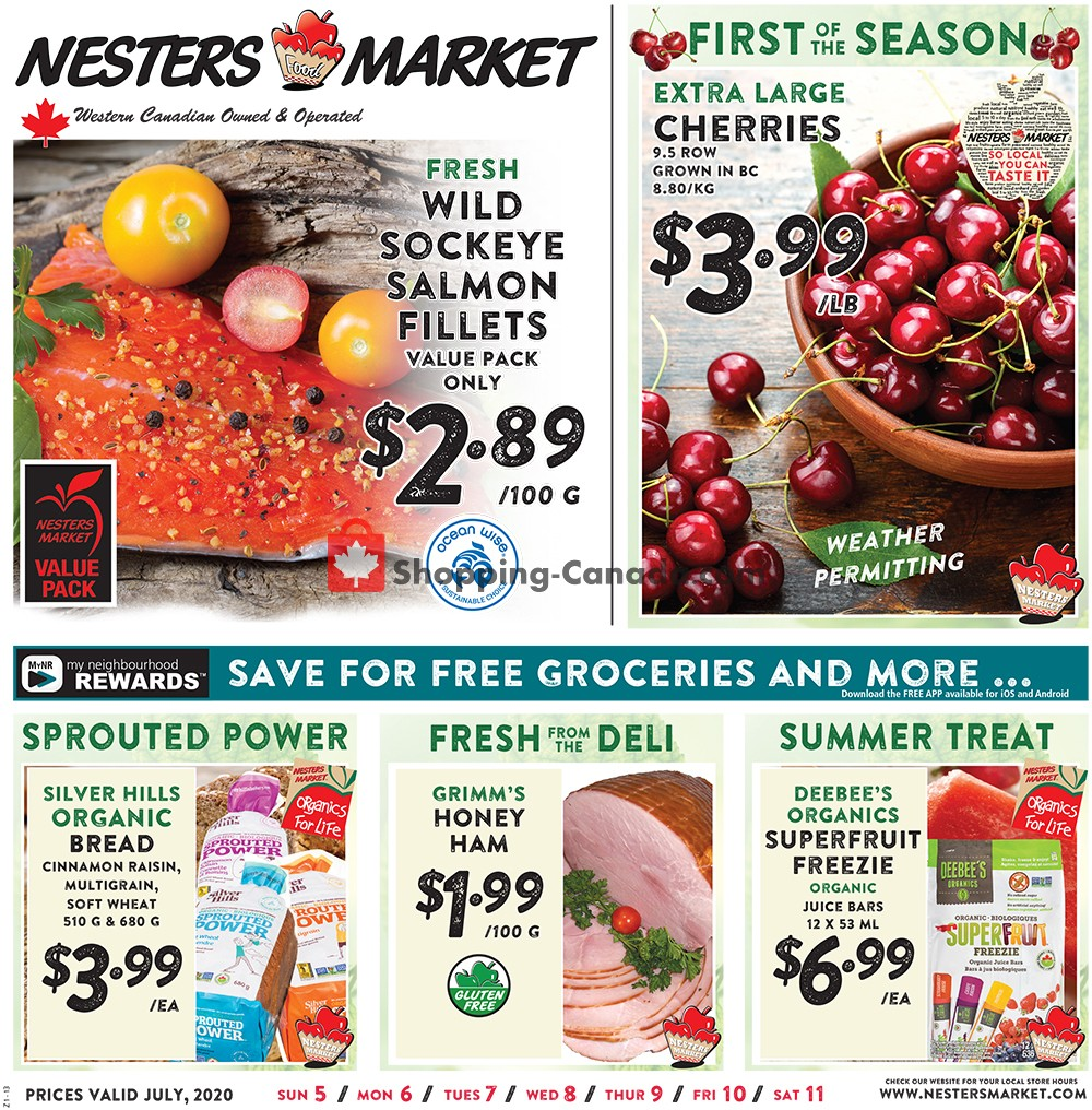 Flyer Nesters Market Grocery Stores Canada - from Sunday July 5, 2020 to Saturday July 11, 2020