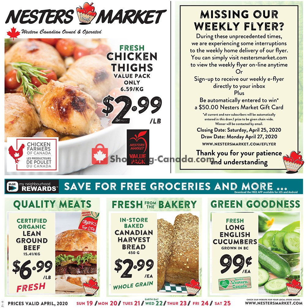 Flyer Nesters Market Grocery Stores Canada - from Sunday April 19, 2020 to Saturday April 25, 2020