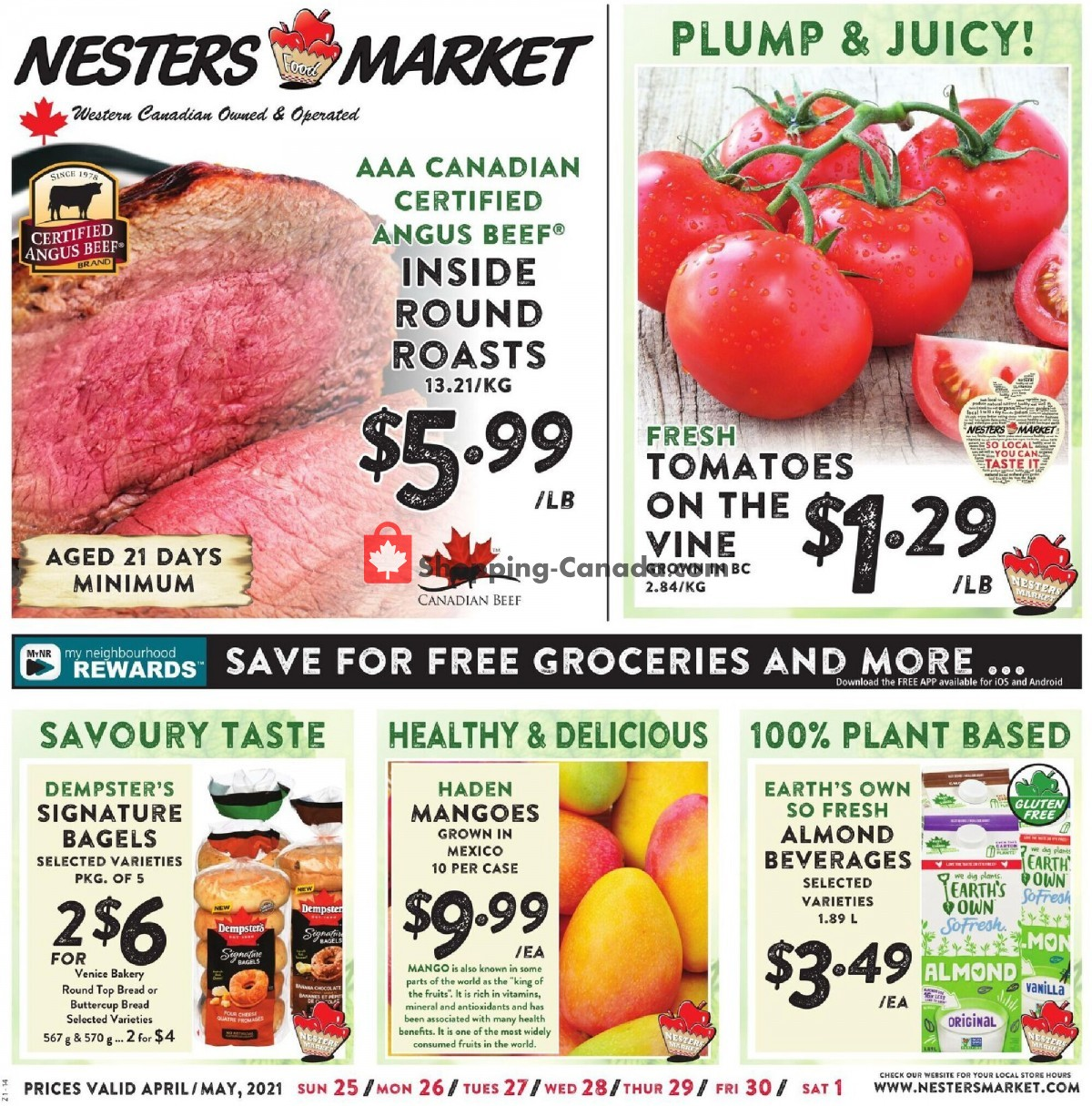 Flyer Nesters Market Grocery Stores Canada - from Sunday April 25, 2021 to Saturday May 1, 2021