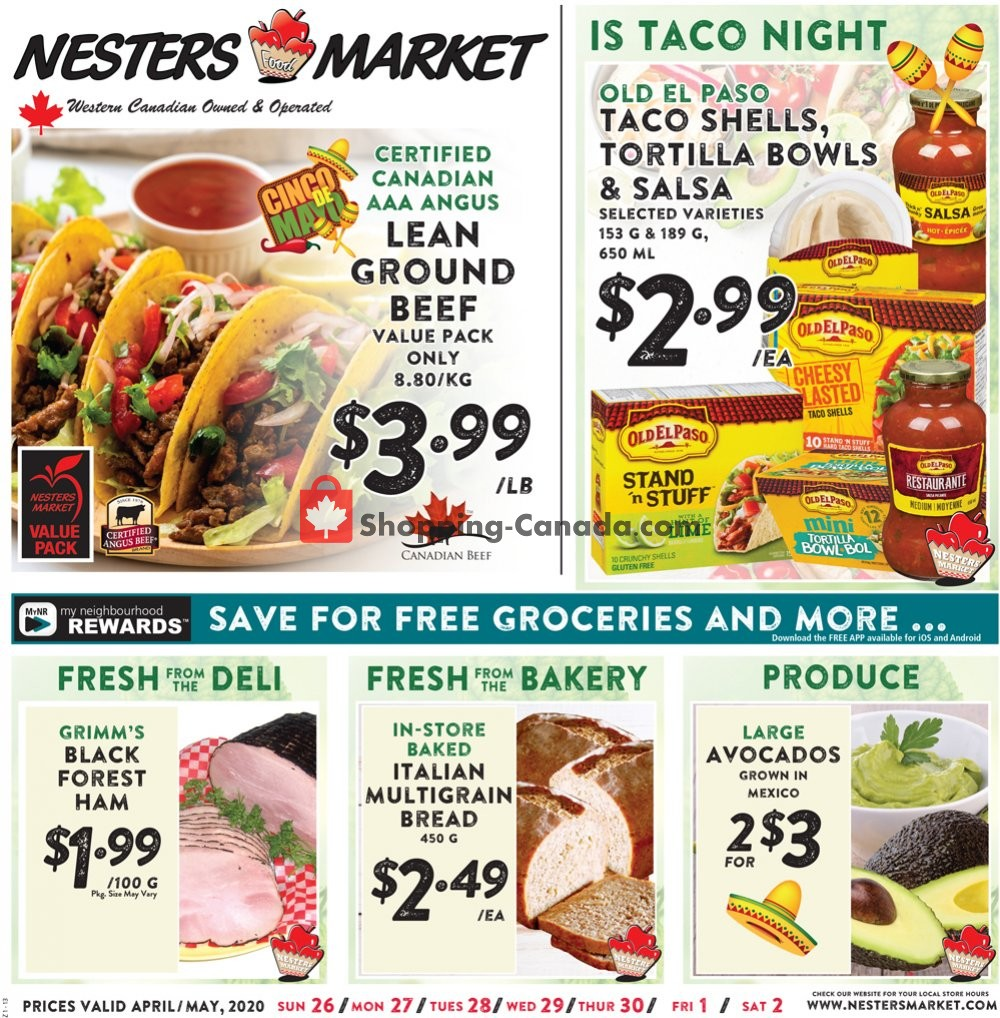 Flyer Nesters Market Grocery Stores Canada - from Sunday April 26, 2020 to Saturday May 2, 2020