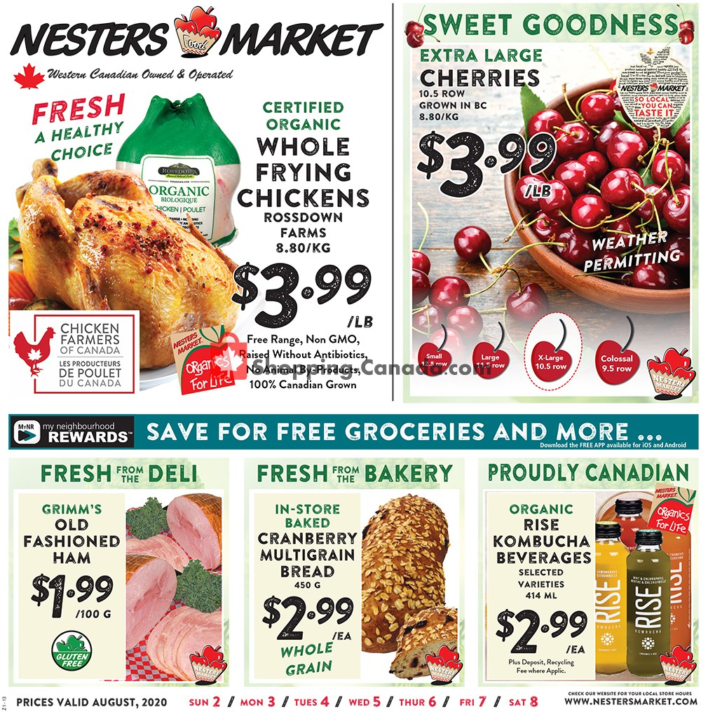 Flyer Nesters Market Grocery Stores Canada - from Sunday August 2, 2020 to Saturday August 8, 2020