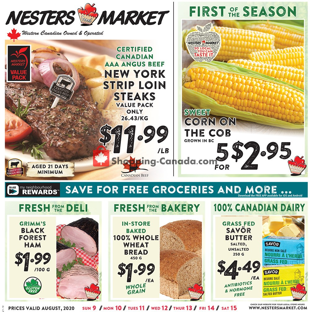 Flyer Nesters Market Grocery Stores Canada - from Sunday August 9, 2020 to Saturday August 15, 2020