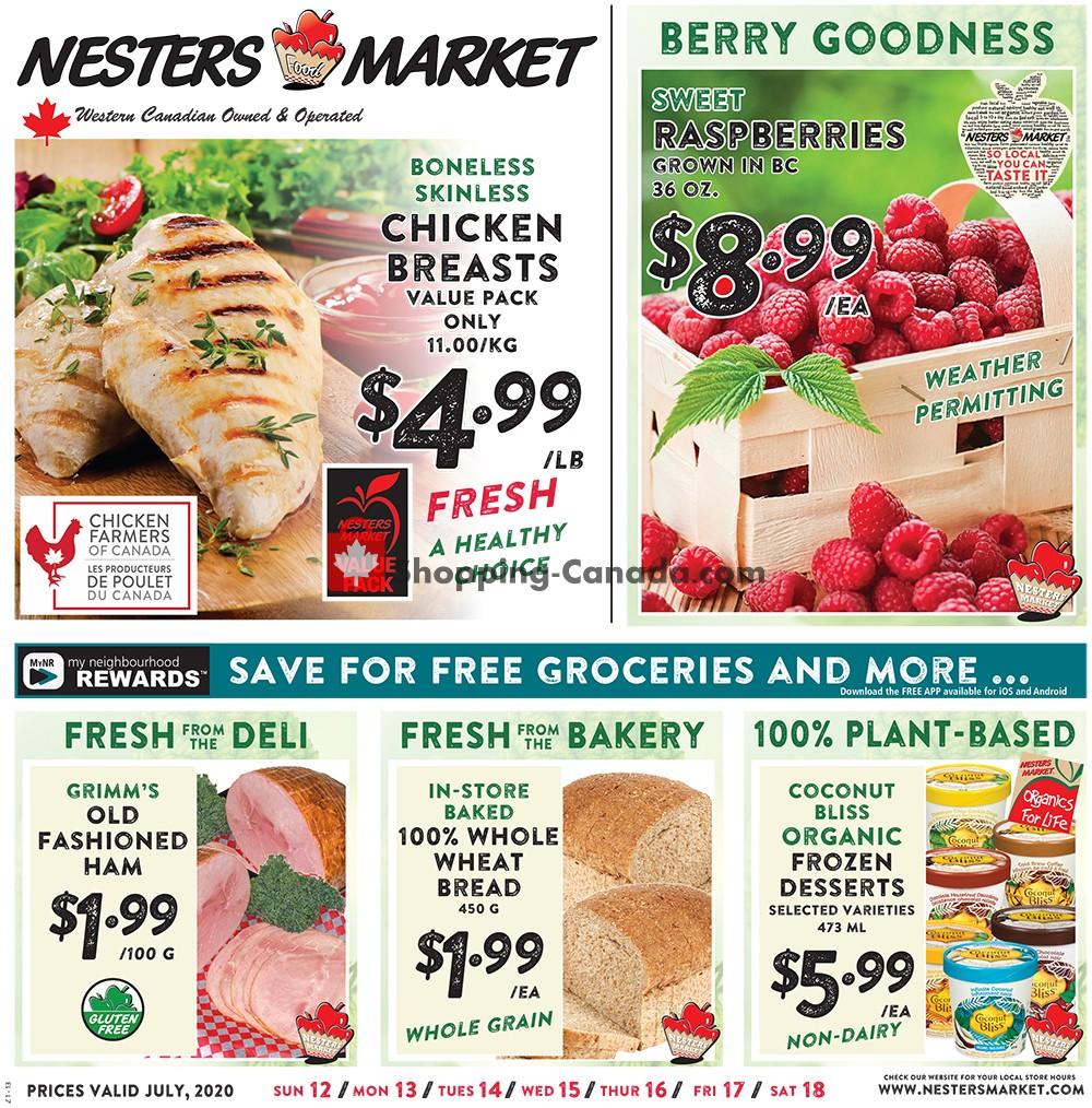 Flyer Nesters Market Grocery Stores Canada - from Sunday July 12, 2020 to Saturday July 18, 2020