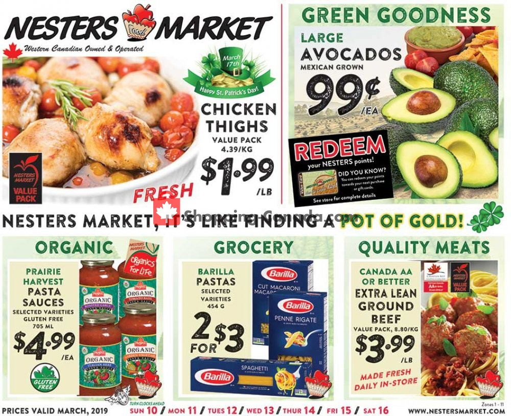 Flyer Nesters Market Grocery Stores Canada - from Sunday March 10, 2019 to Saturday March 16, 2019