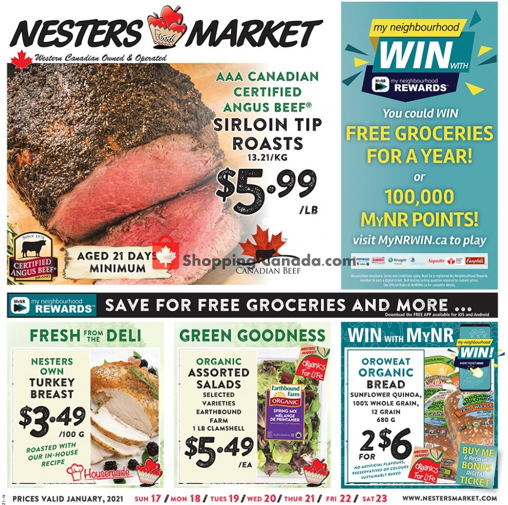 Flyer Nesters Market Grocery Stores Canada - from Sunday January 17, 2021 to Saturday January 23, 2021