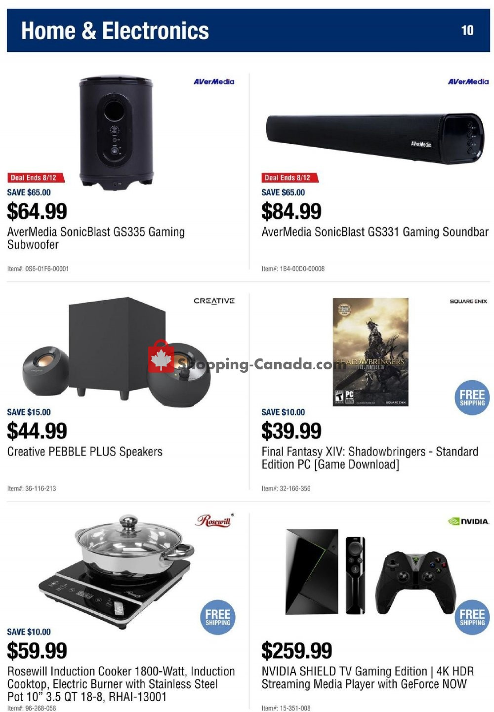 Flyer Newegg Canada - from Friday August 9, 2019 to Thursday August 15, 2019
