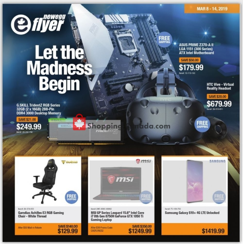 Flyer Newegg Canada - from Friday March 8, 2019 to Thursday March 14, 2019