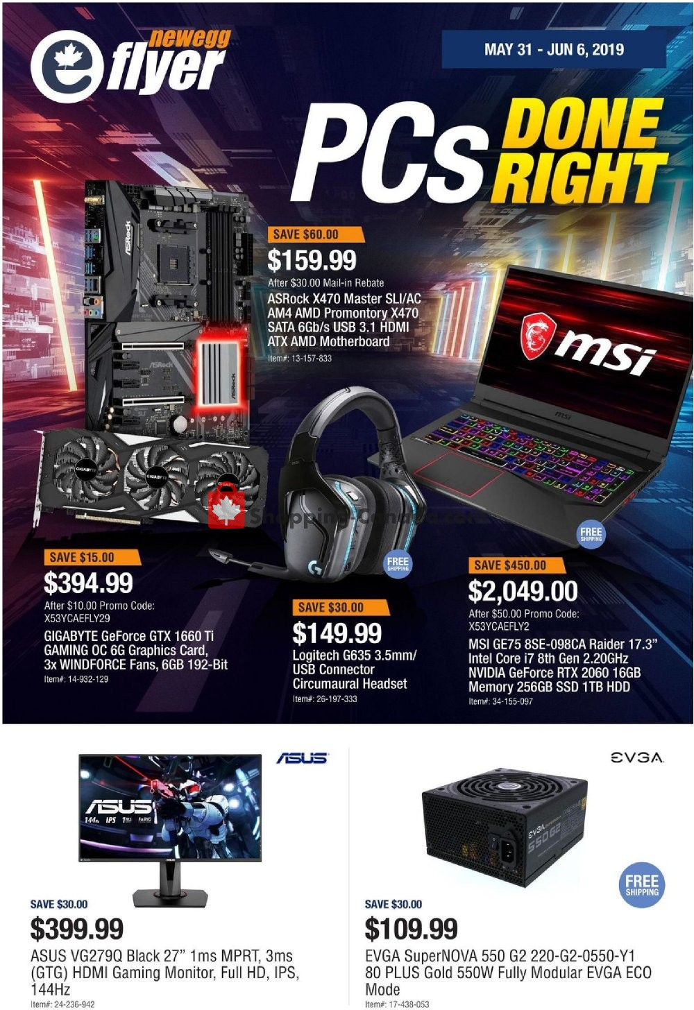 Flyer and weekly ads: Newegg Canada - PCs Done Right) - from Friday