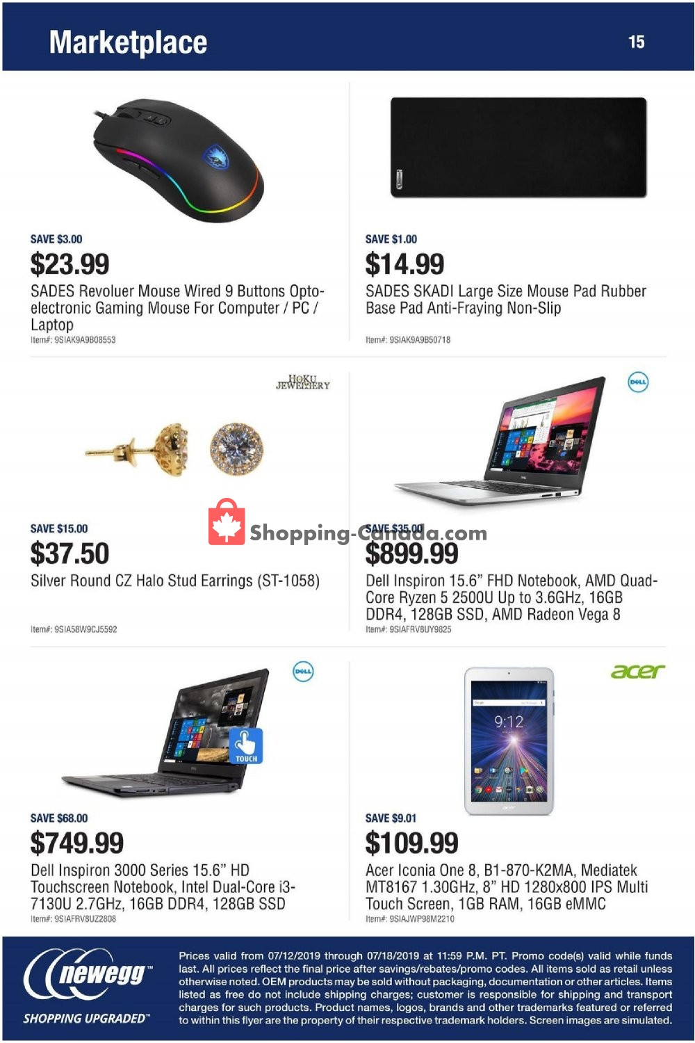 Flyer Newegg Canada - from Friday July 12, 2019 to Thursday July 18, 2019