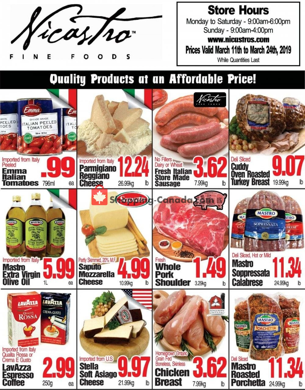 Flyer NICASTRO'S Italian Food Canada - from Monday March 11, 2019 to Sunday March 24, 2019