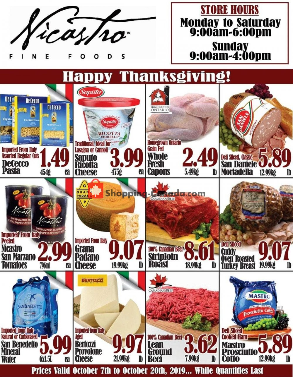 Flyer NICASTRO'S Italian Food Canada - from Monday October 7, 2019 to Sunday October 20, 2019