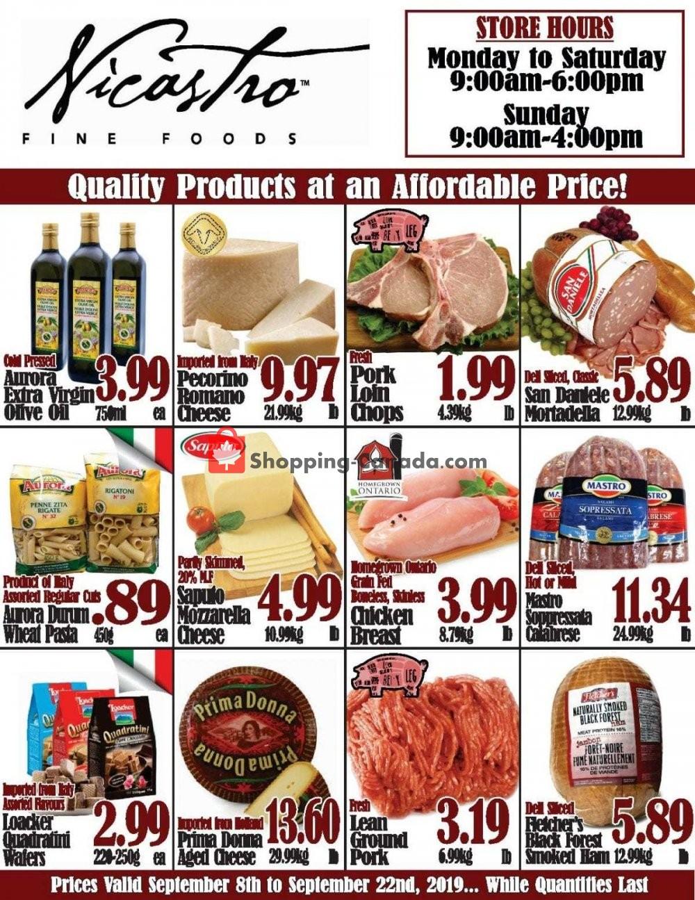 Flyer NICASTRO'S Italian Food Canada - from Sunday September 8, 2019 to Sunday September 22, 2019