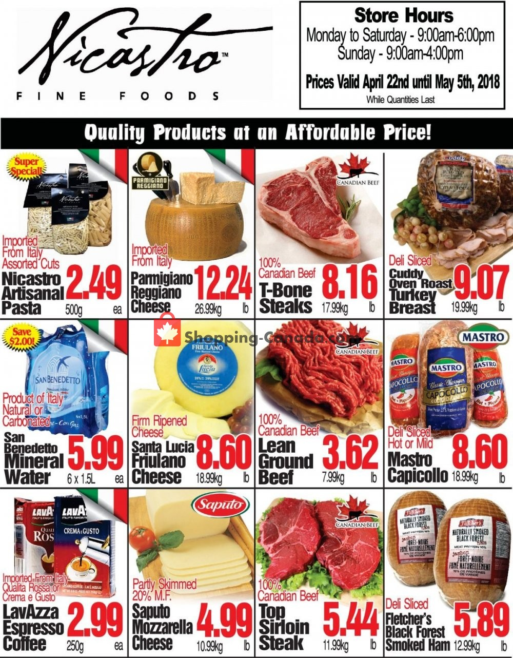 Flyer NICASTRO'S Italian Food Canada - from Monday April 22, 2019 to Sunday May 5, 2019