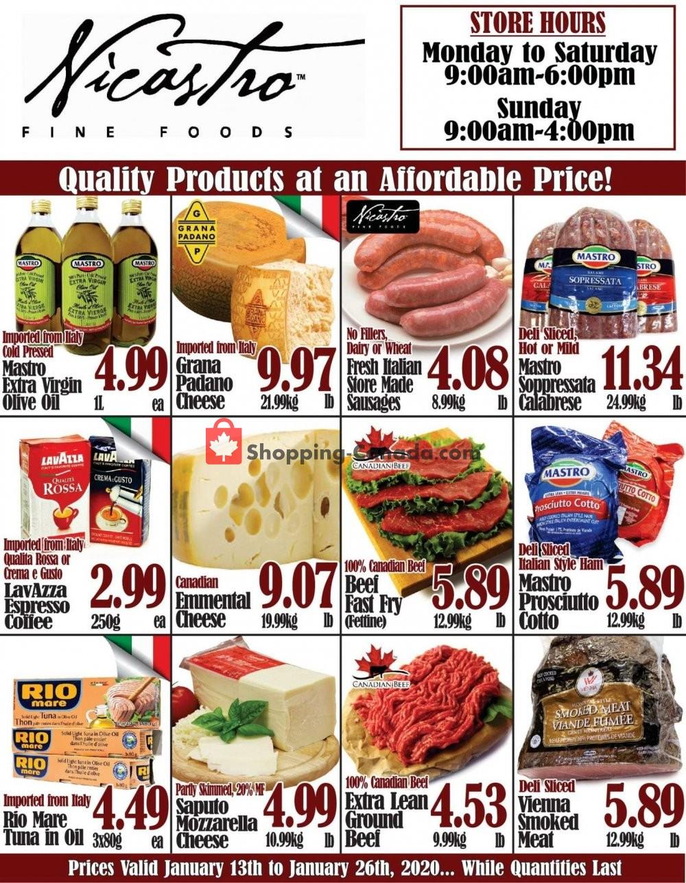 Flyer NICASTRO'S Italian Food Canada - from Monday January 13, 2020 to Sunday January 26, 2020