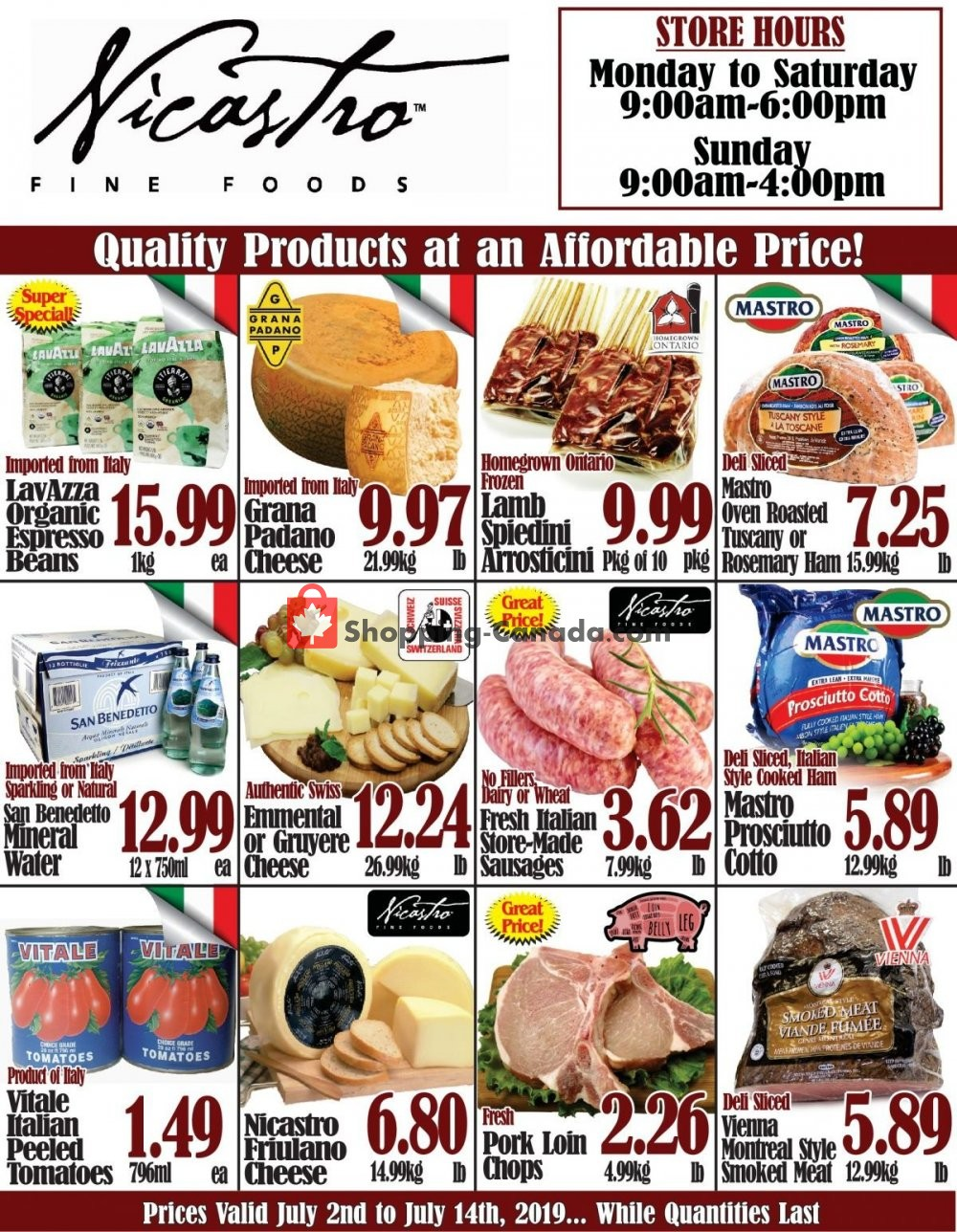 Flyer NICASTRO'S Italian Food Canada - from Tuesday July 2, 2019 to Sunday July 14, 2019