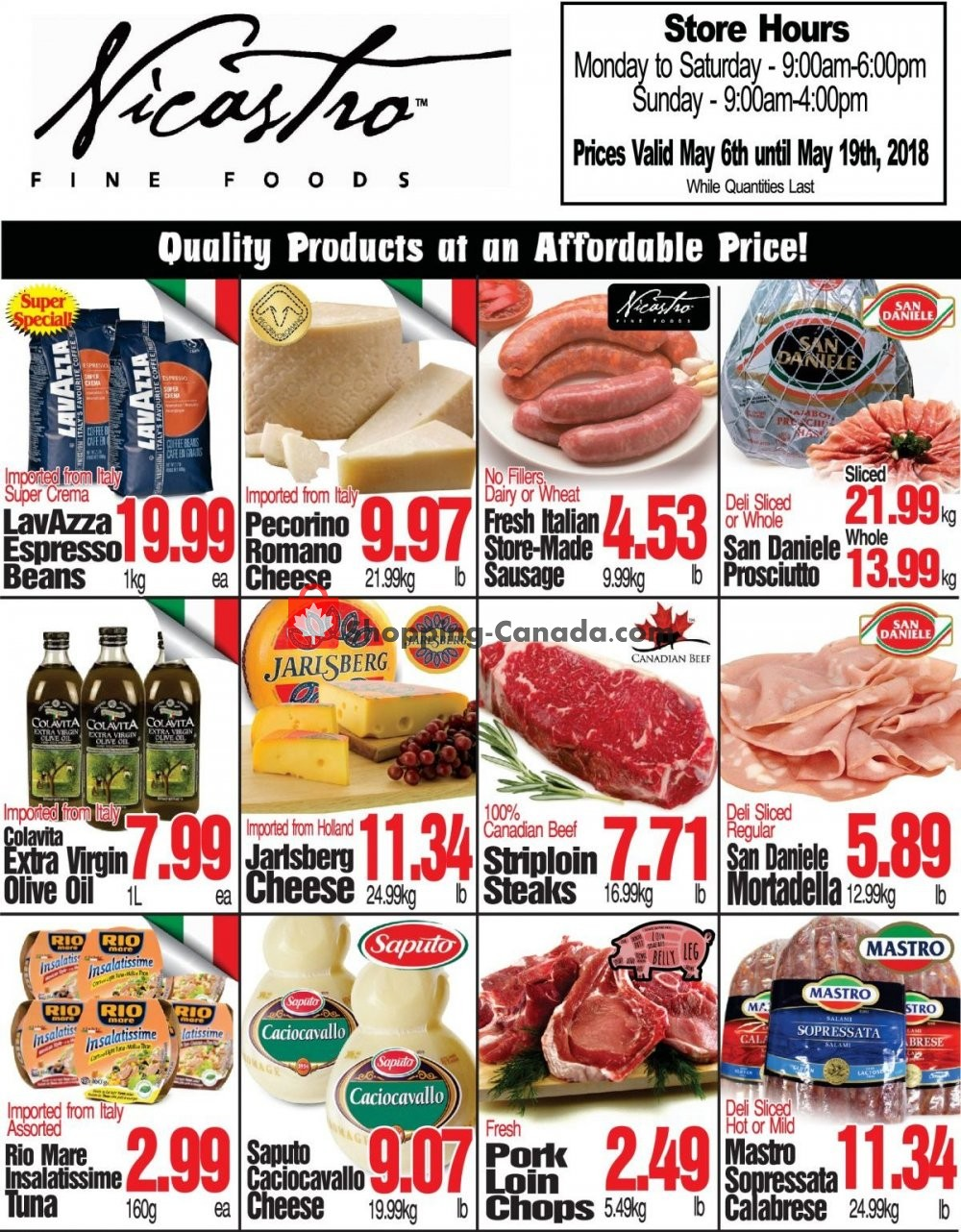 Flyer NICASTRO'S Italian Food Canada - from Monday May 6, 2019 to Sunday May 19, 2019
