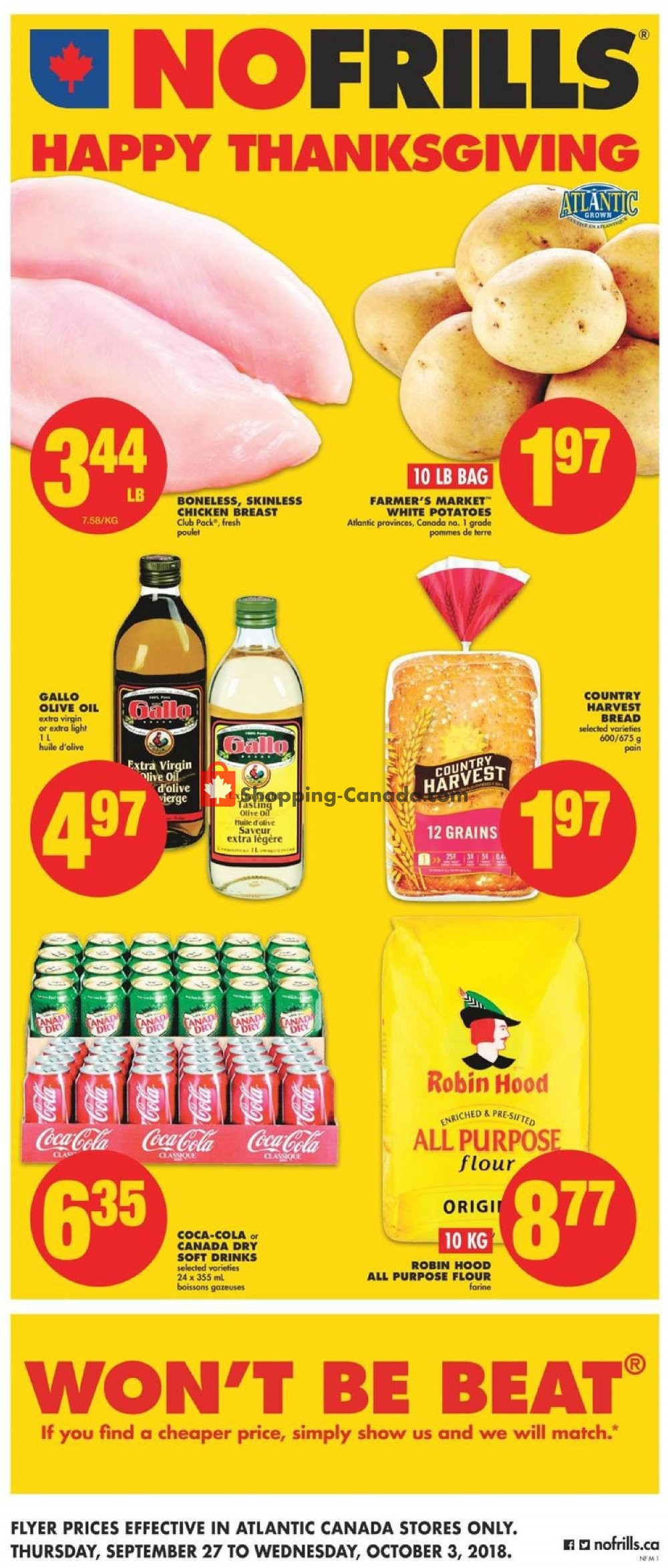 Flyer No Frills Canada - from Thursday September 27, 2018 to Wednesday October 3, 2018