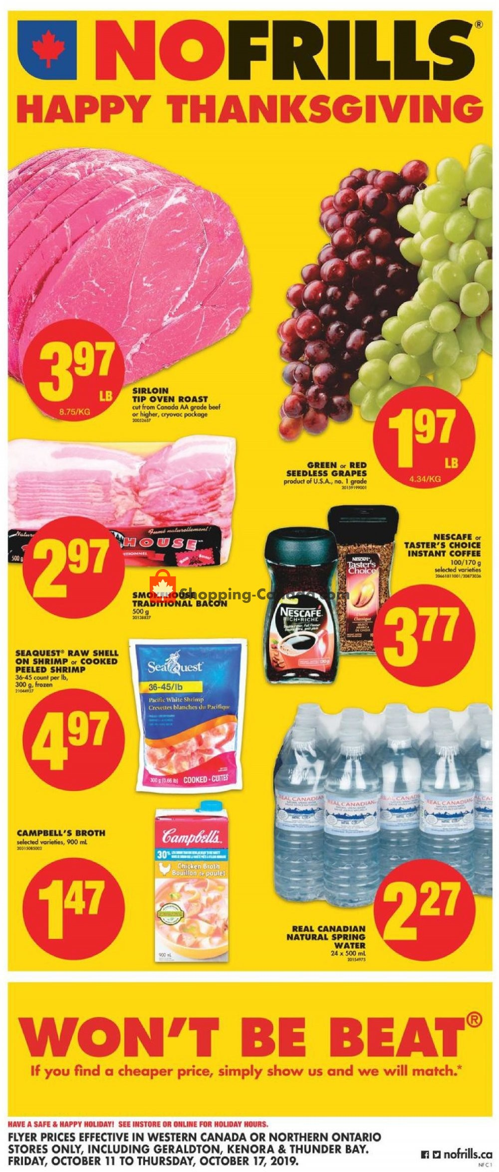 Flyer No Frills Canada - from Friday October 11, 2019 to Thursday October 17, 2019