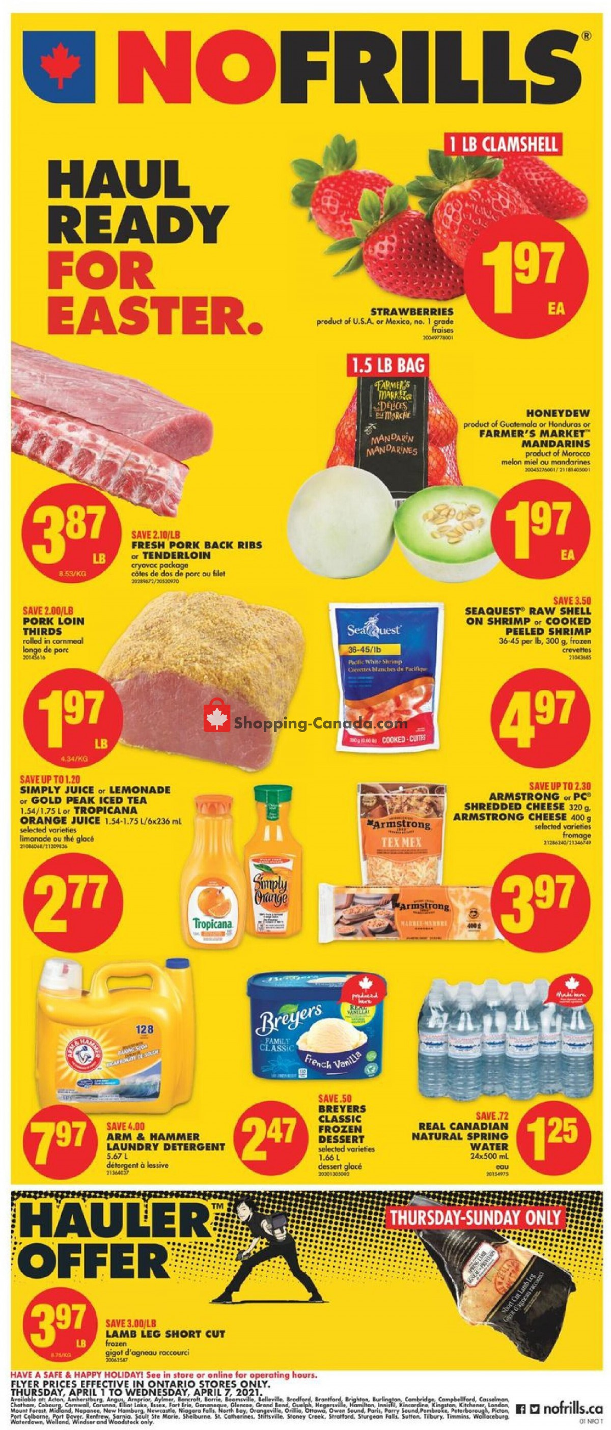 Flyer No Frills Canada - from Thursday April 1, 2021 to Wednesday April 7, 2021