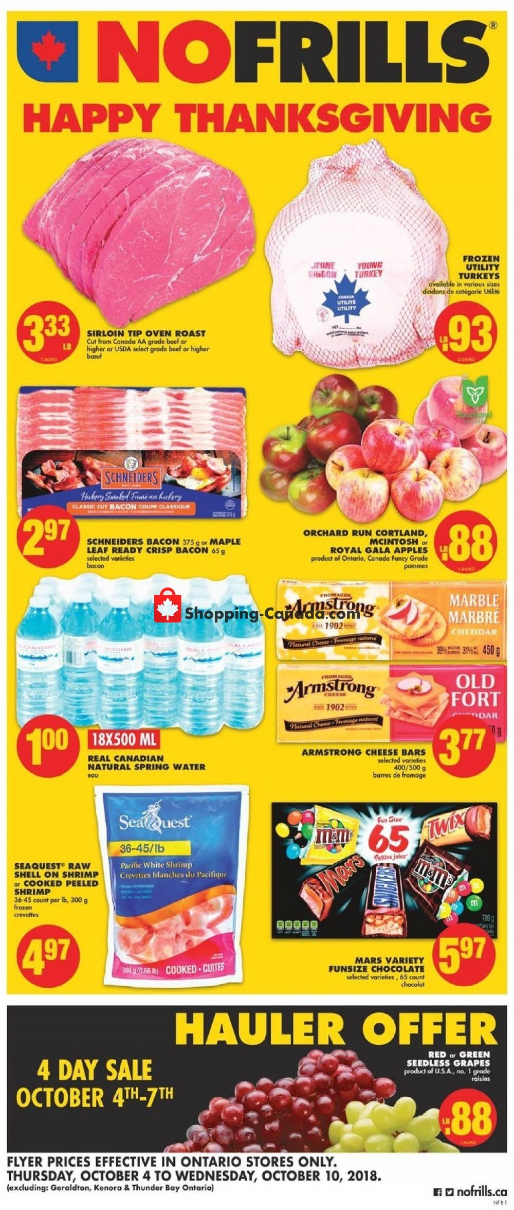 Flyer No Frills Canada - from Thursday October 4, 2018 to Wednesday October 10, 2018