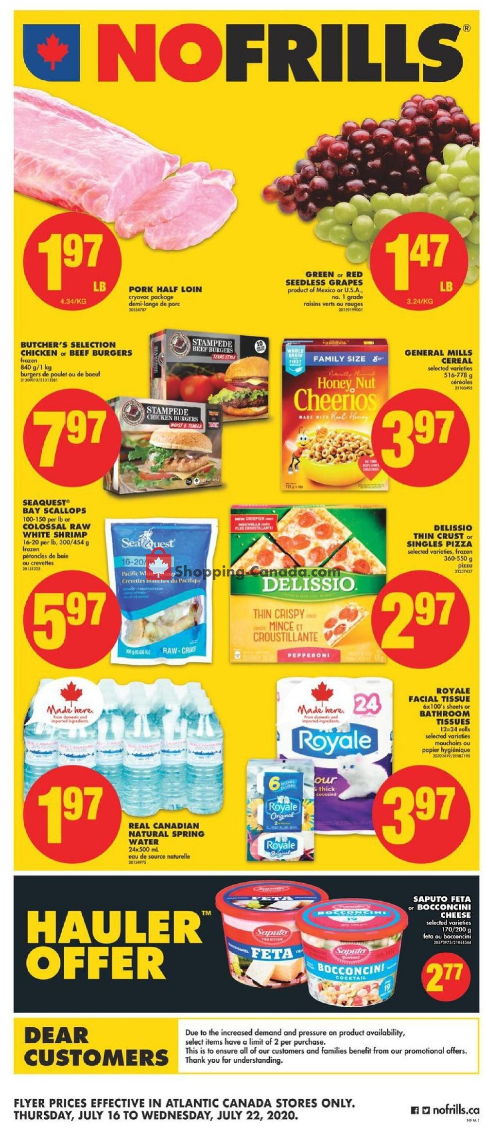 Flyer No Frills Canada - from Thursday July 16, 2020 to Wednesday July 22, 2020