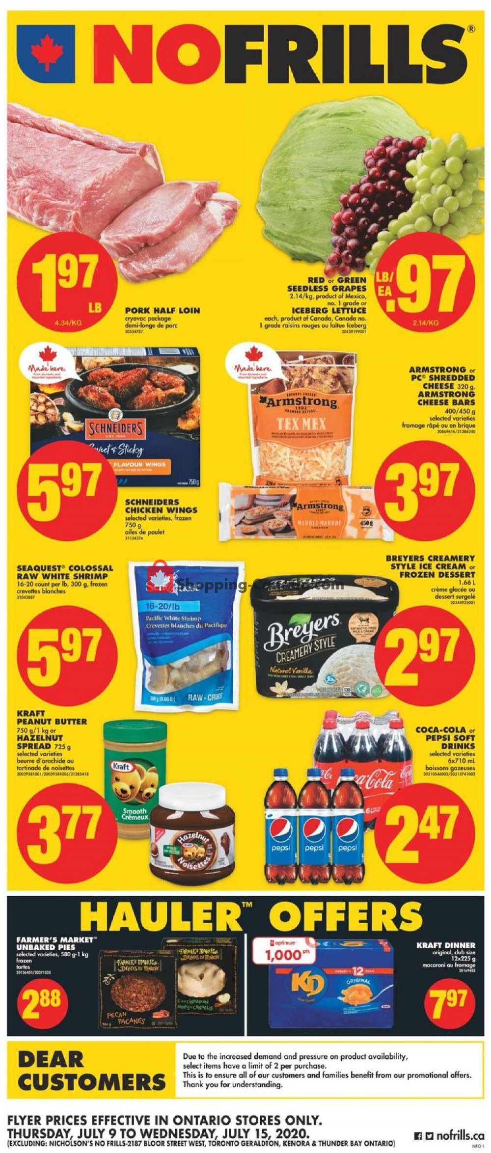 Flyer No Frills Canada - from Thursday July 9, 2020 to Wednesday July 15, 2020