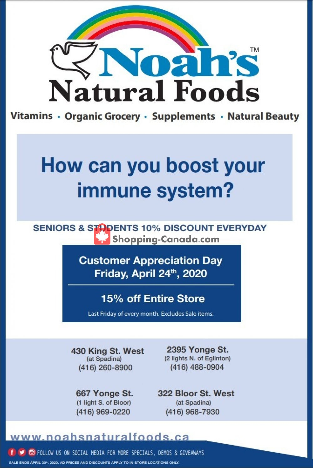 Flyer Noah's Natural Foods Canada - from Friday April 24, 2020 to Thursday April 30, 2020
