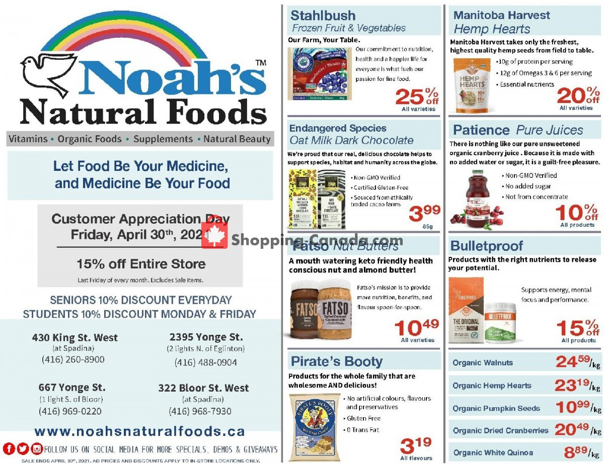Flyer Noah's Natural Foods Canada - from Thursday April 1, 2021 to Friday April 30, 2021