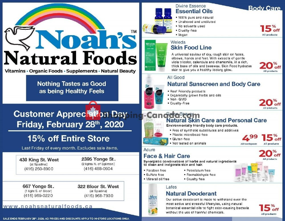 Flyer Noah's Natural Foods Canada - from Saturday February 1, 2020 to Friday February 28, 2020