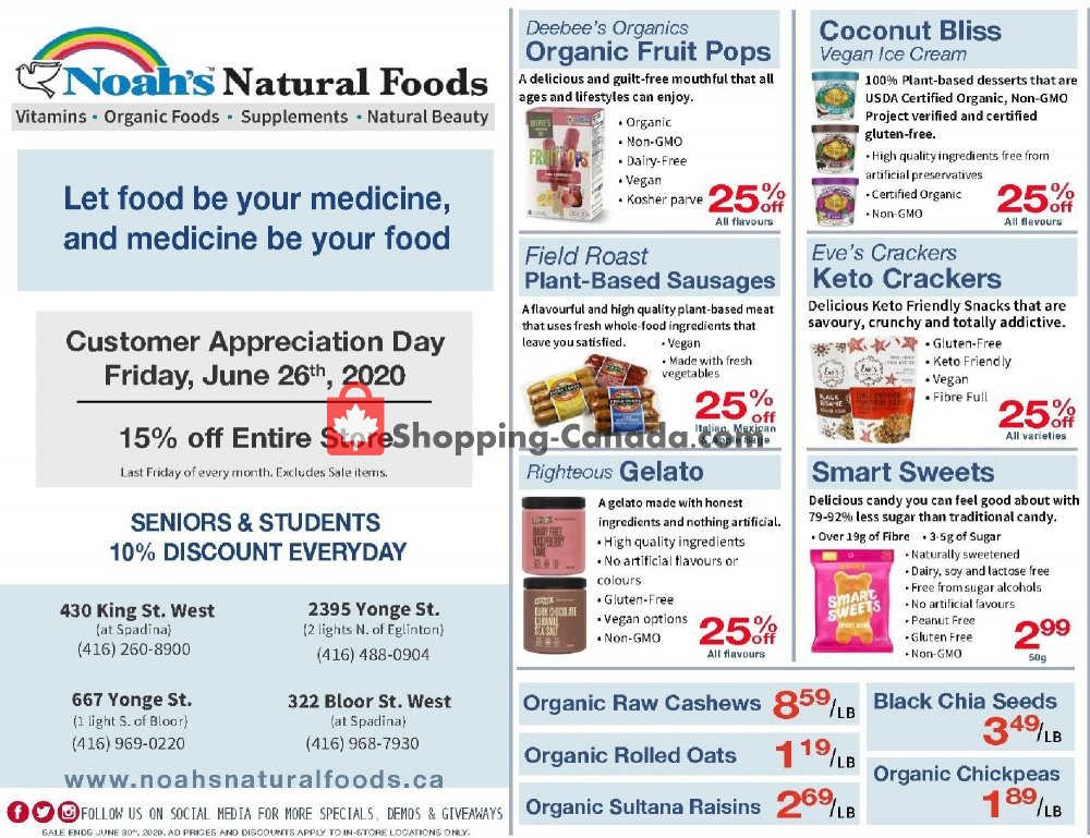 Flyer Noah's Natural Foods Canada - from Monday June 1, 2020 to Tuesday June 30, 2020