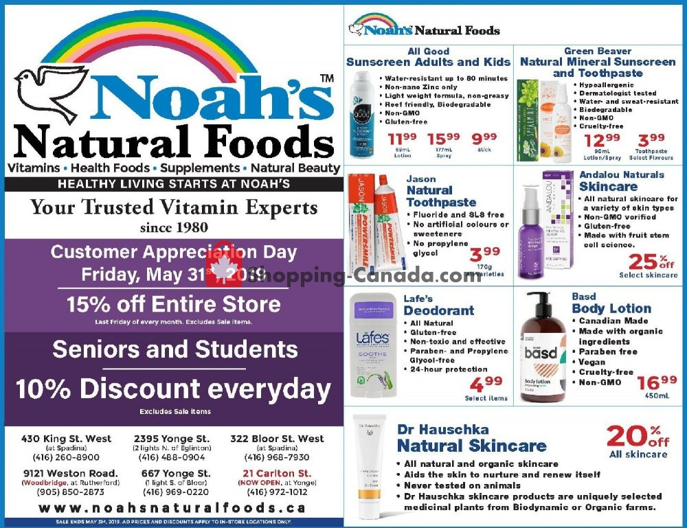 Flyer Noah's Natural Foods Canada - from Wednesday May 1, 2019 to Friday May 31, 2019