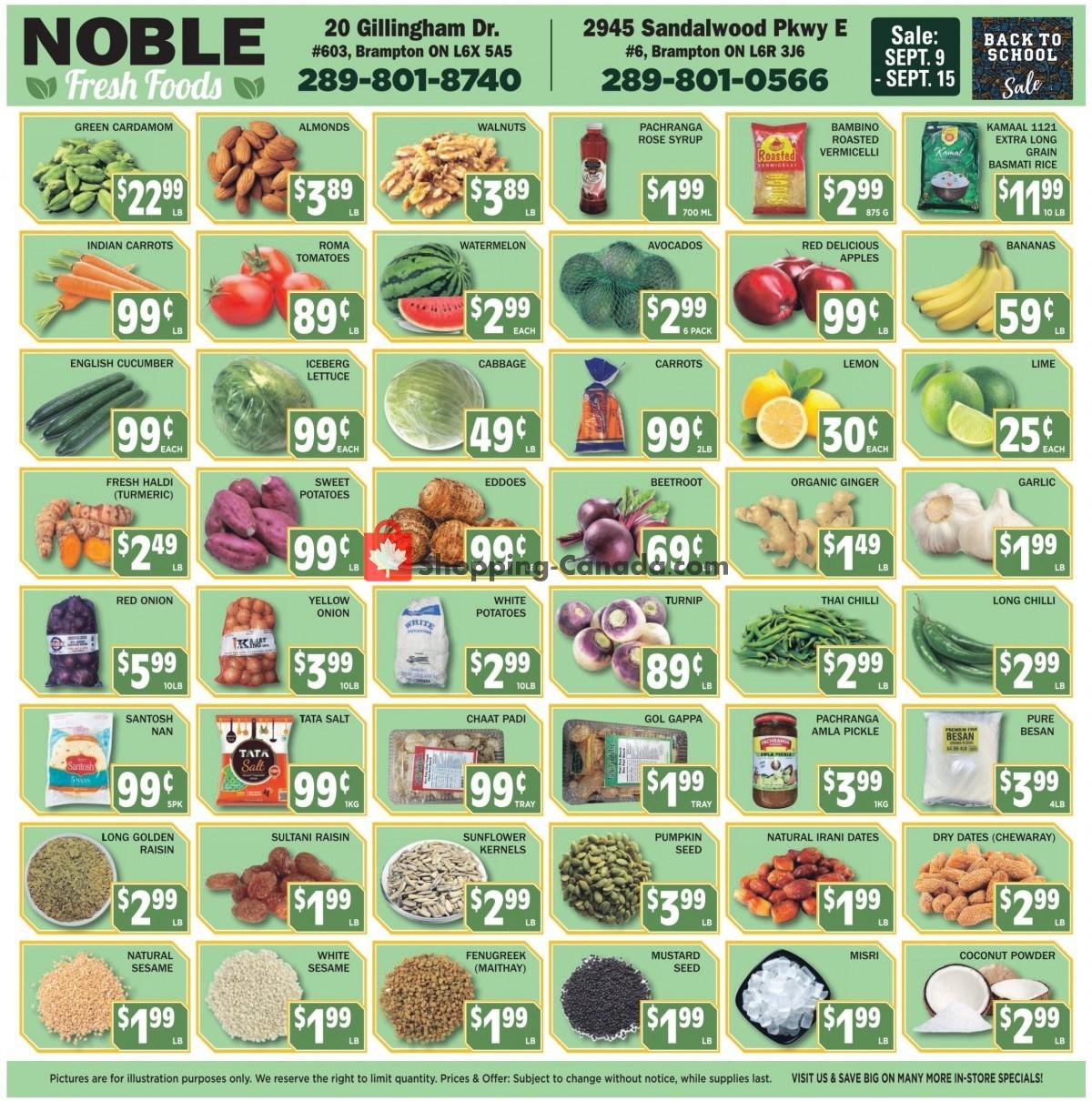 Flyer Noble Fresh Foods Canada - from Thursday September 9, 2021 to Wednesday September 15, 2021