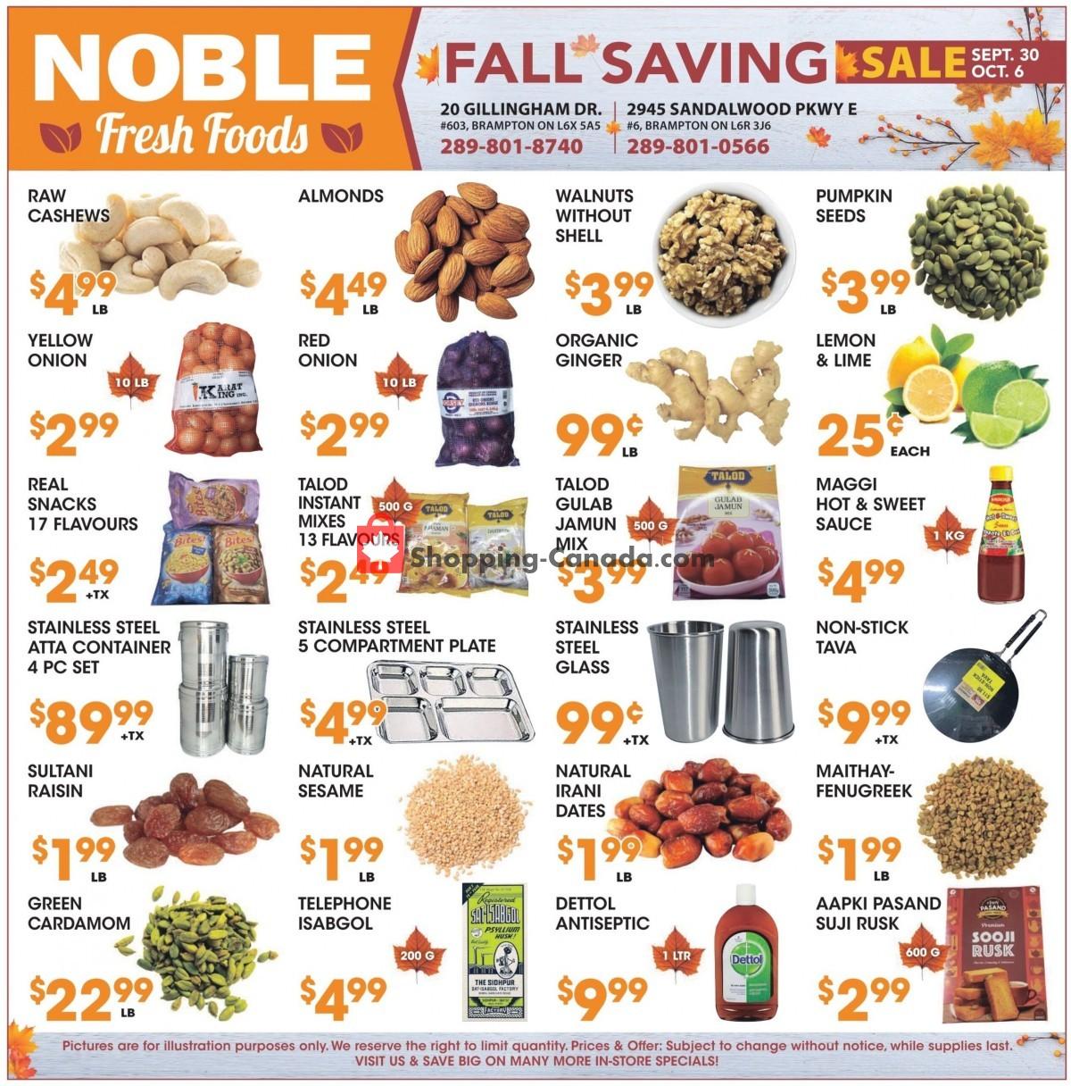 Flyer Noble Fresh Foods Canada - from Thursday September 30, 2021 to Wednesday October 6, 2021