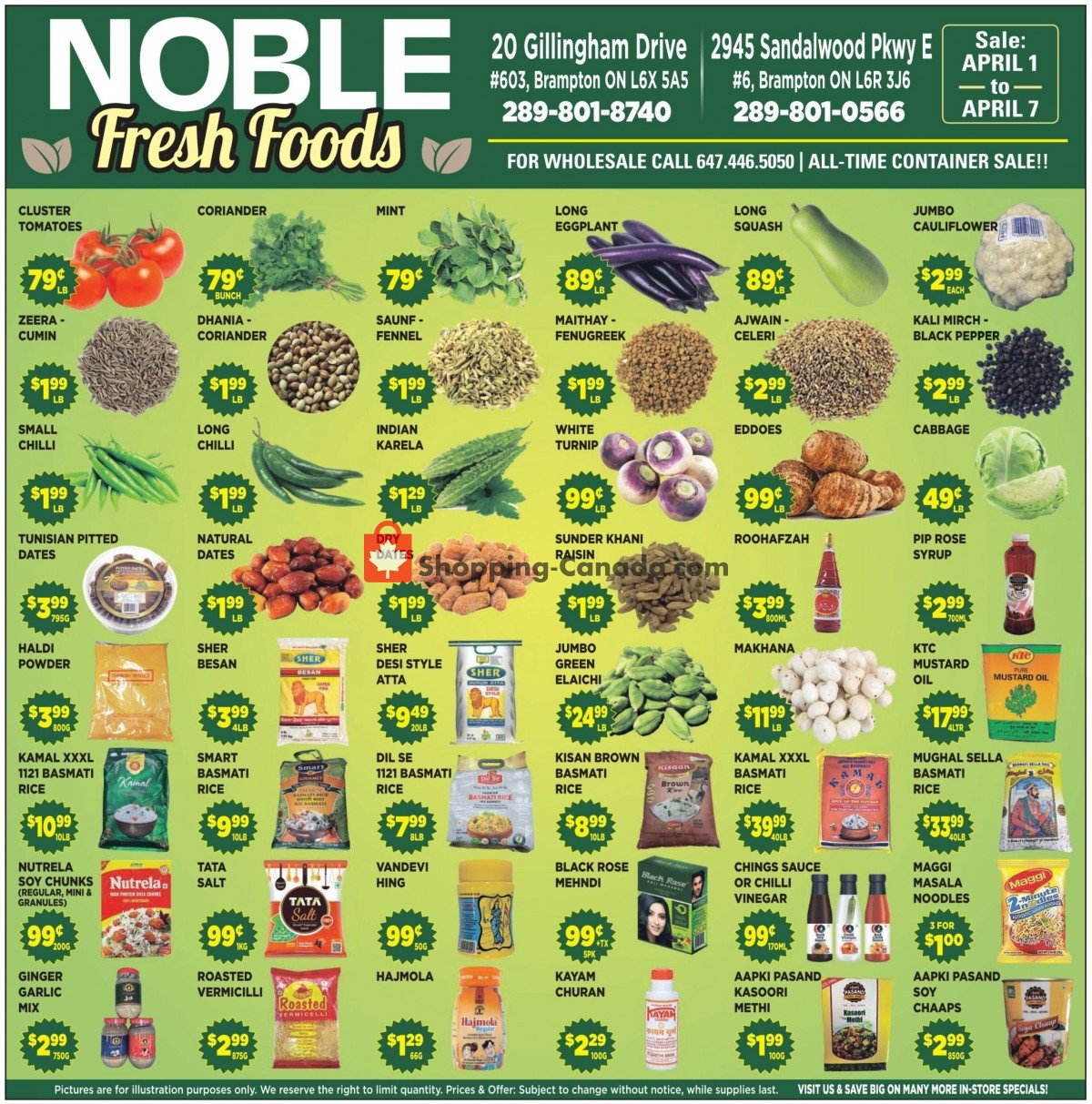 Flyer Noble Fresh Foods Canada - from Thursday April 1, 2021 to Wednesday April 7, 2021