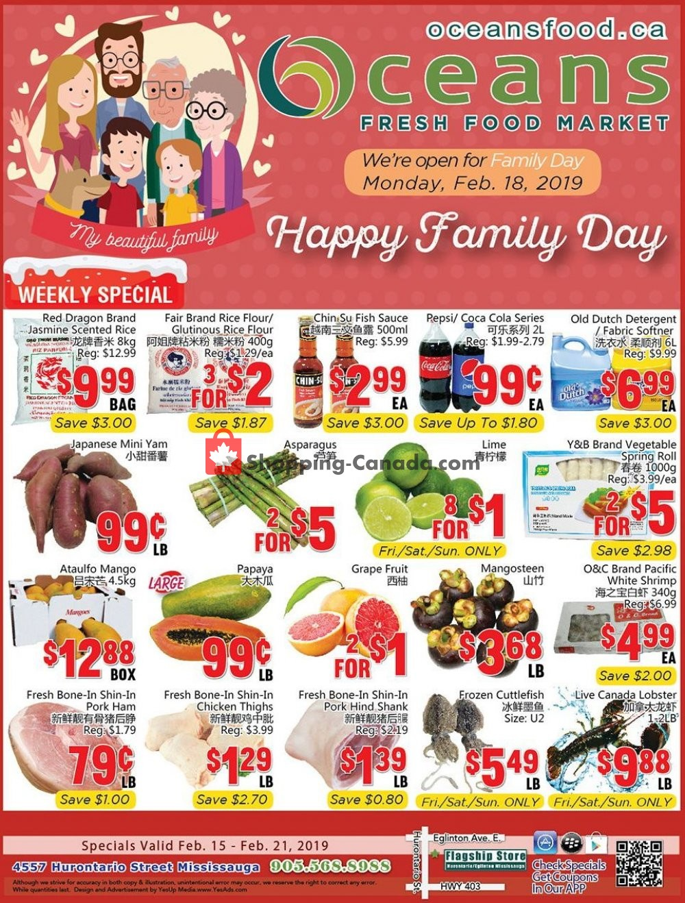 Flyer Oceans Fresh Food Market Canada - from Friday February 15, 2019 to Thursday February 21, 2019