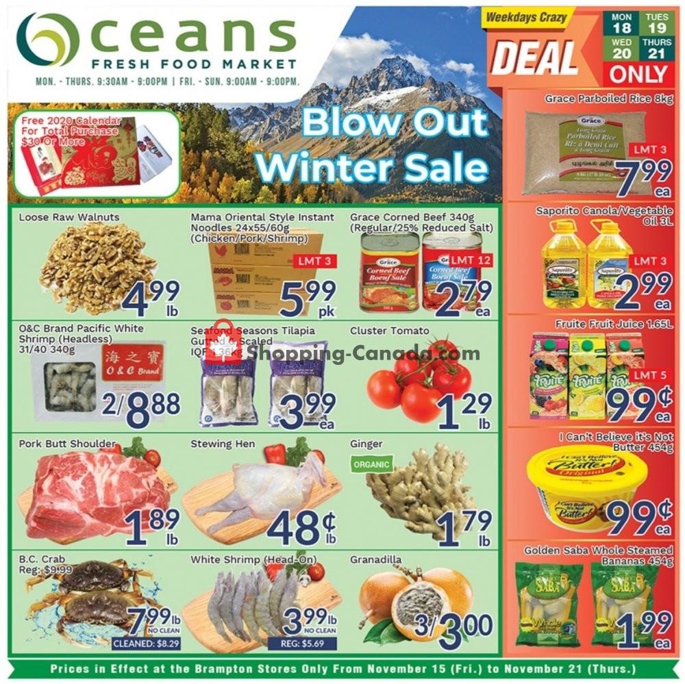 Flyer Oceans Fresh Food Market Canada - from Friday November 15, 2019 to Thursday November 21, 2019