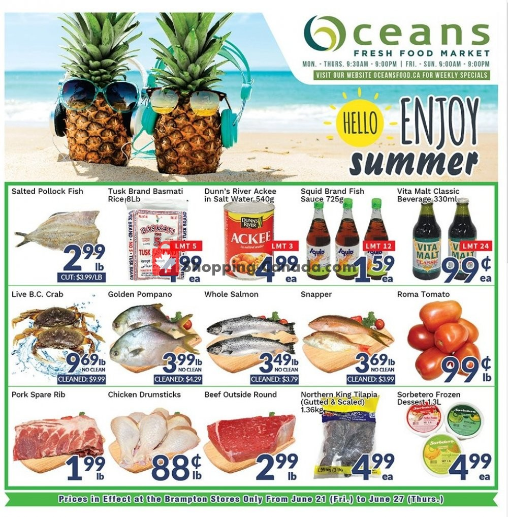 Flyer Oceans Fresh Food Market Canada - from Friday June 21, 2019 to Thursday June 27, 2019