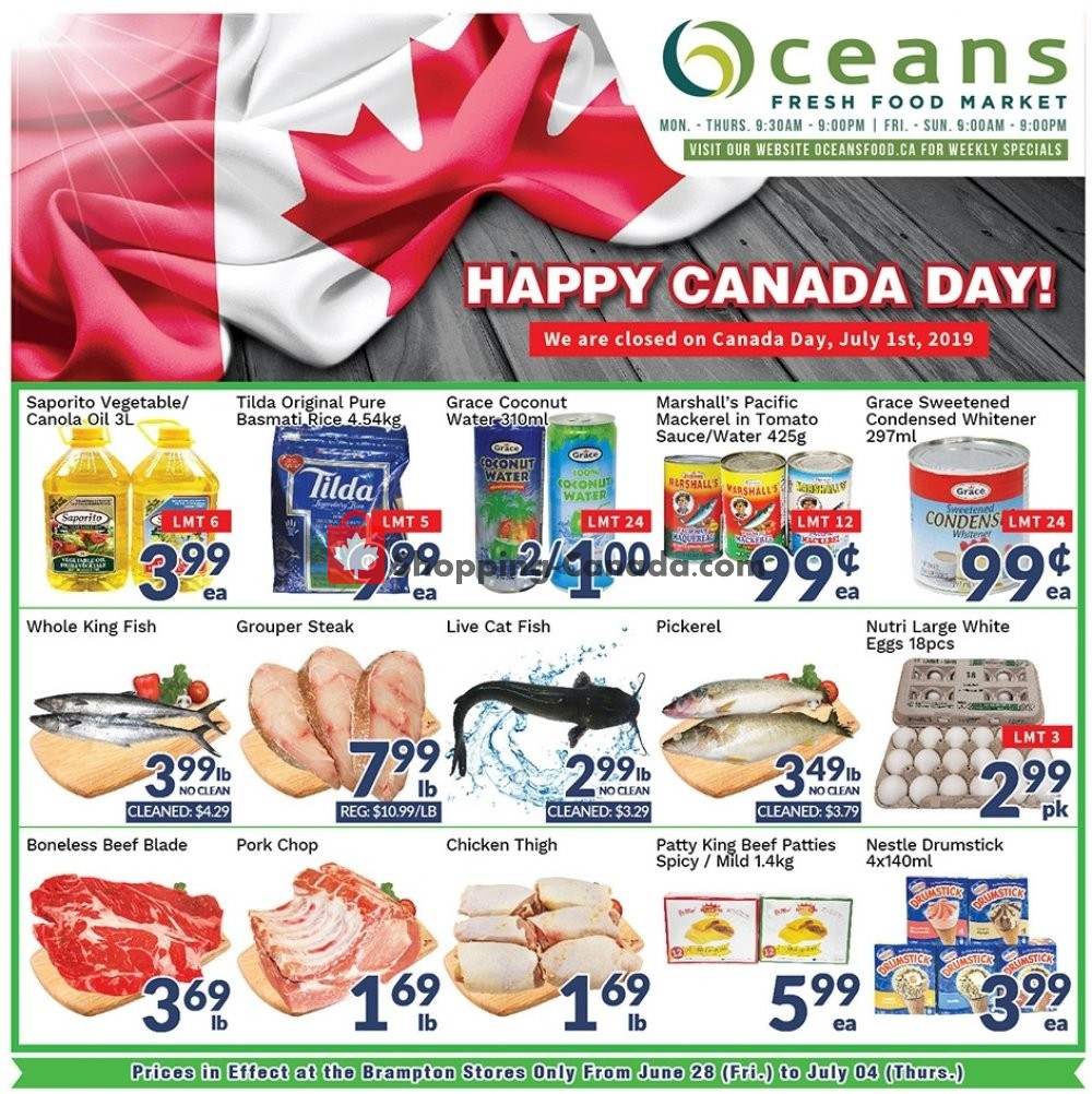 Flyer Oceans Fresh Food Market Canada - from Friday June 28, 2019 to Thursday July 4, 2019