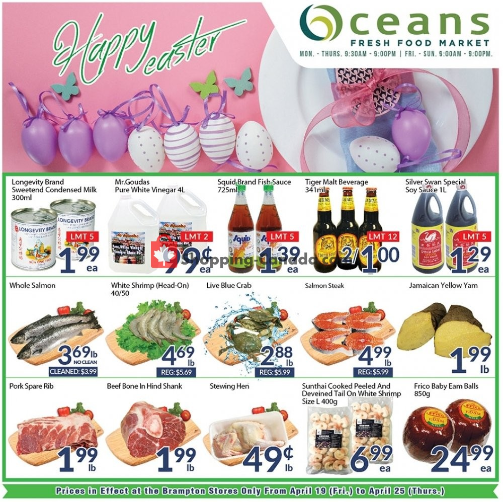 Flyer Oceans Fresh Food Market Canada - from Friday April 19, 2019 to Thursday April 25, 2019
