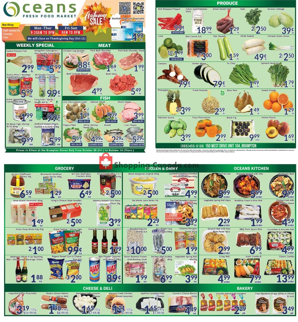 Flyer Oceans Fresh Food Market Canada - from Friday October 8, 2021 to Thursday October 14, 2021