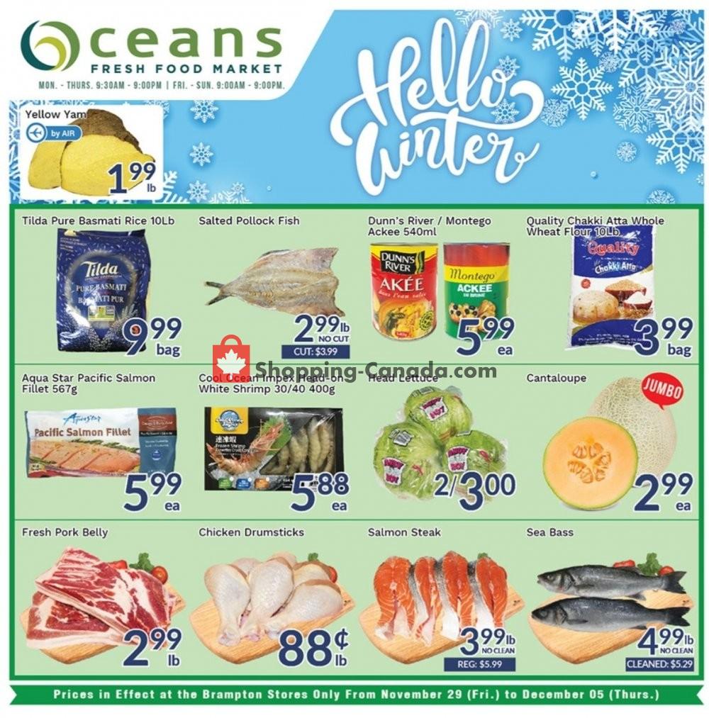 Flyer Oceans Fresh Food Market Canada - from Friday November 29, 2019 to Thursday December 5, 2019
