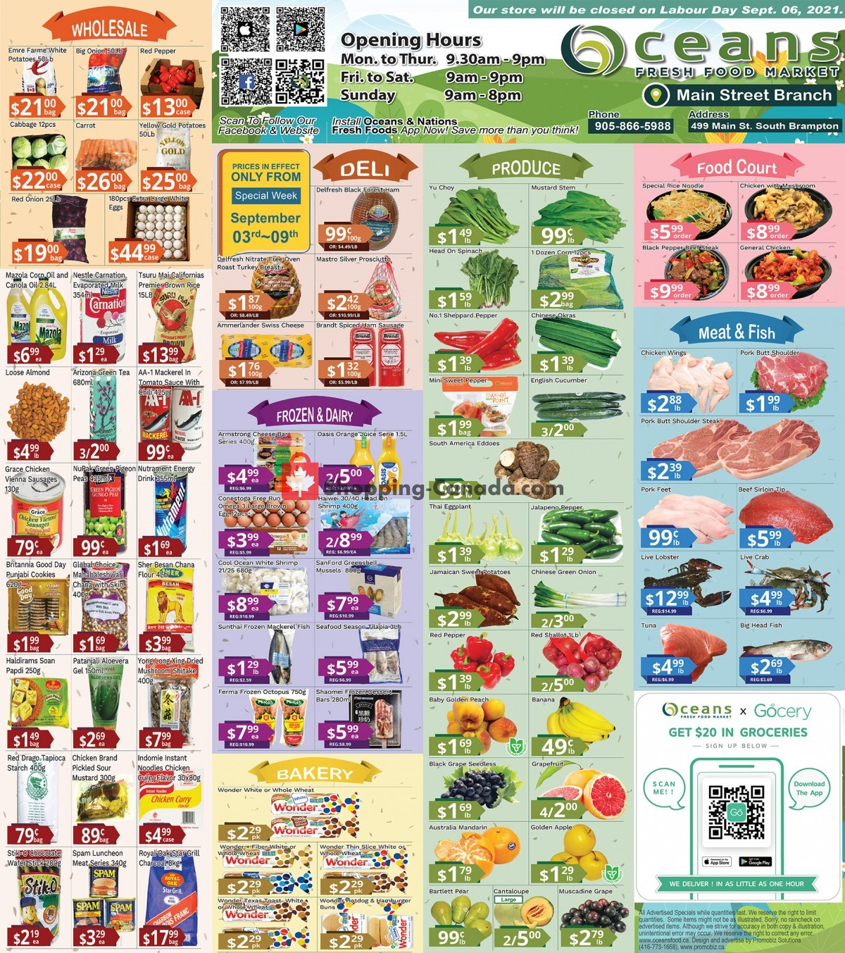 Flyer Oceans Fresh Food Market Canada - from Friday September 3, 2021 to Thursday September 9, 2021