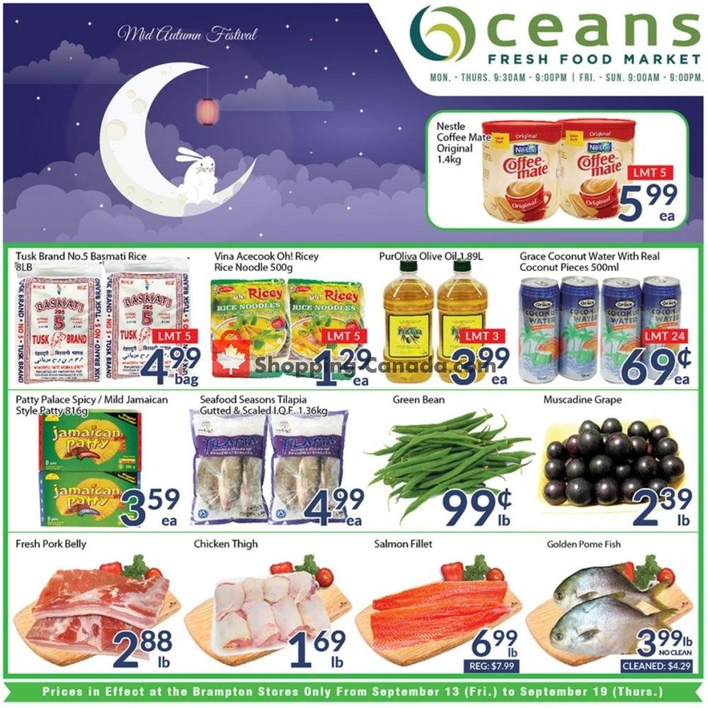 Flyer Oceans Fresh Food Market Canada - from Friday September 13, 2019 to Thursday September 19, 2019