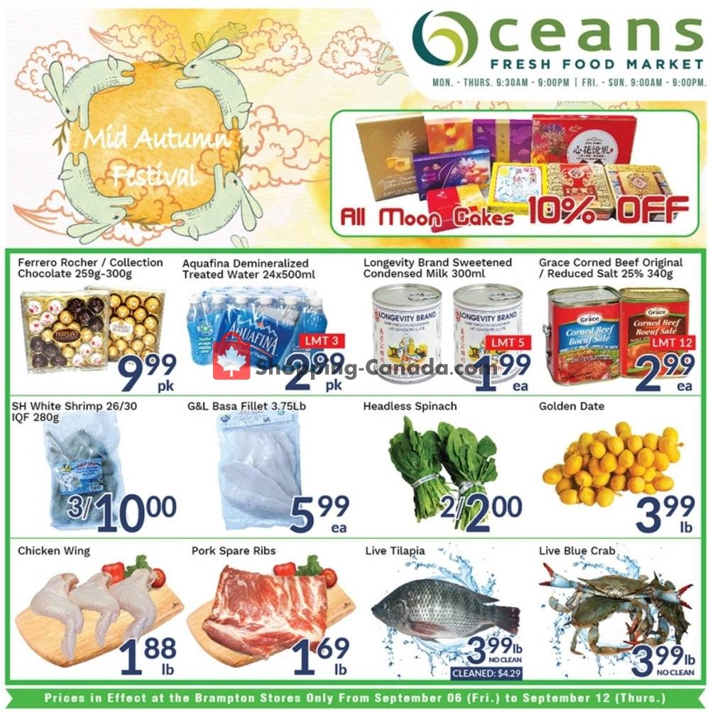 Flyer Oceans Fresh Food Market Canada - from Friday September 6, 2019 to Thursday September 12, 2019
