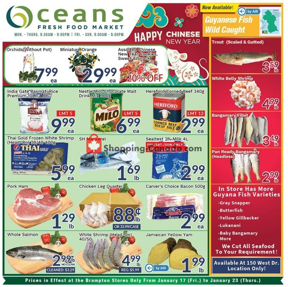 Flyer Oceans Fresh Food Market Canada - from Friday January 17, 2020 to Thursday January 23, 2020